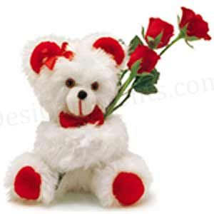 Teddy bear with pink roses - photo#21