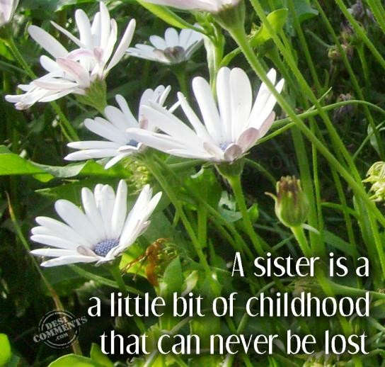 A sister is a little bit of childhood