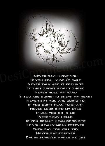 Never say…