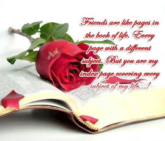 Friends are like pages in the book of life