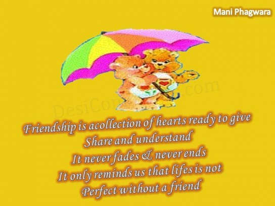 Life is not perfect without a friend