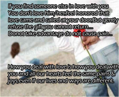 If you find someone else in love with you...