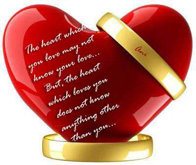 The heart which loves you...