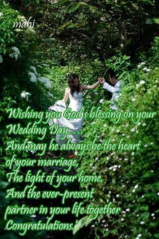 Wishing you God's blessing on your wedding day...
