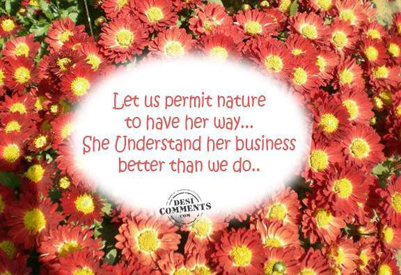 Let us permit nature to have her way...