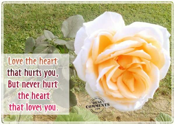Never hurt the heart that loves you