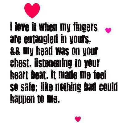 I love it when my fingers are entangled in yours...