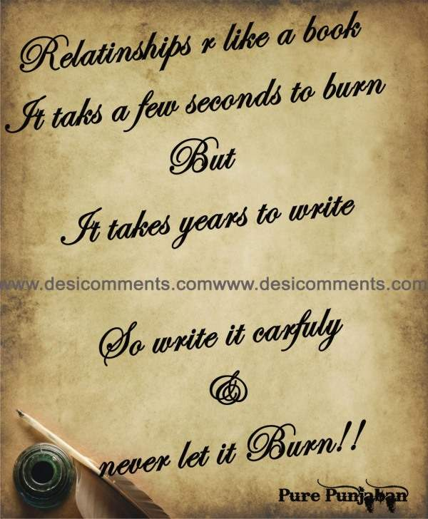 Relationships are like a book...