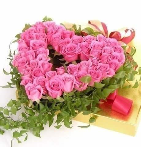 Heart made of pink roses