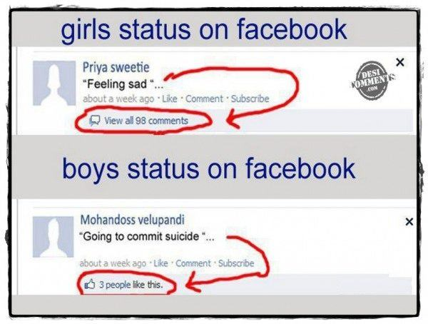 Girl's and boy's status on facebook