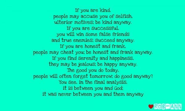 If you are kind