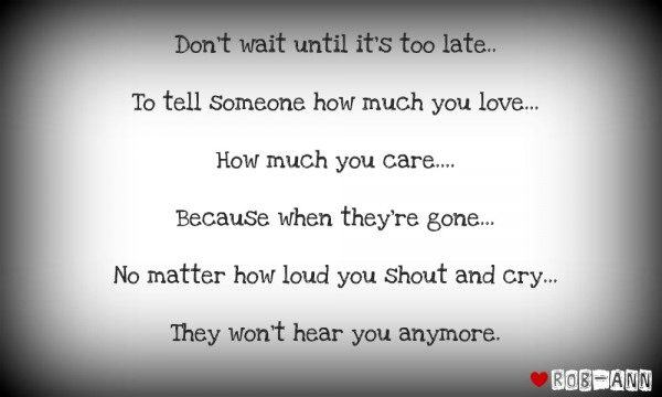 Don't wait until it's too late