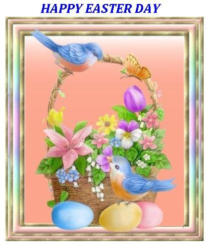 Happy easter day with birds