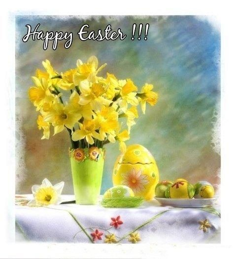 Happy easter with beautiful flowers