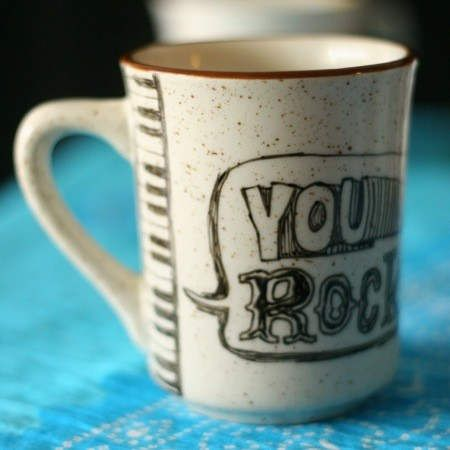 You rock written on cup