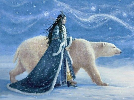 Happy winter graphic – queen and polar bear