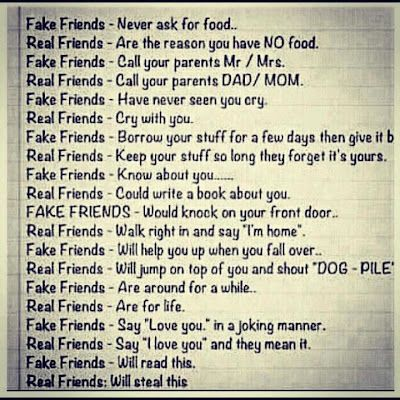 Difference between fake and real friends