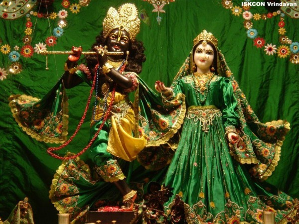 Radha And Krishan In Green Dress