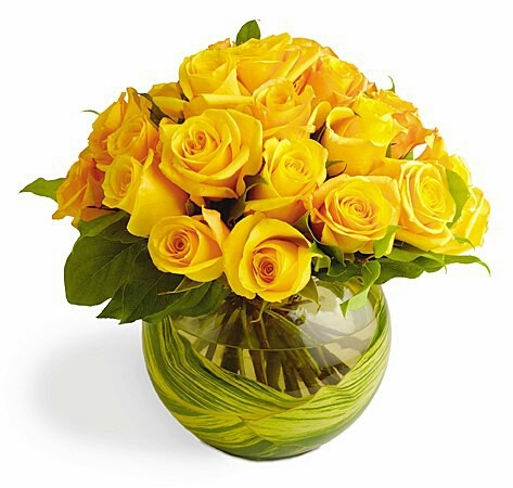 Yellow Roses In Glass Pot