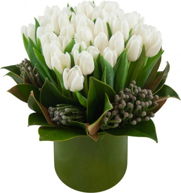 White Tulips Pot