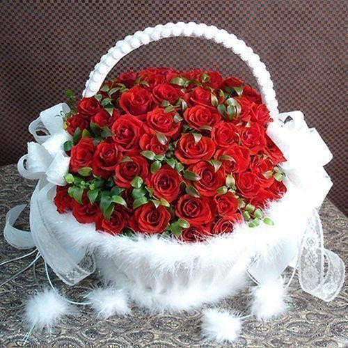 White Basket Of Red Roses