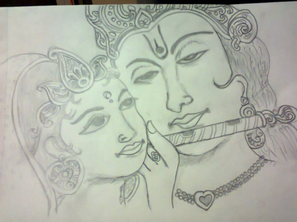 Sketch Of Krishan And Radha Ji