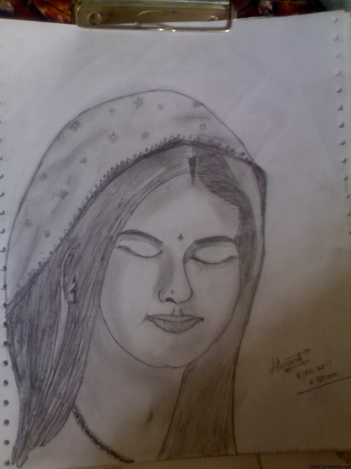 Sketch Of A Praying Girl - DesiComments.com