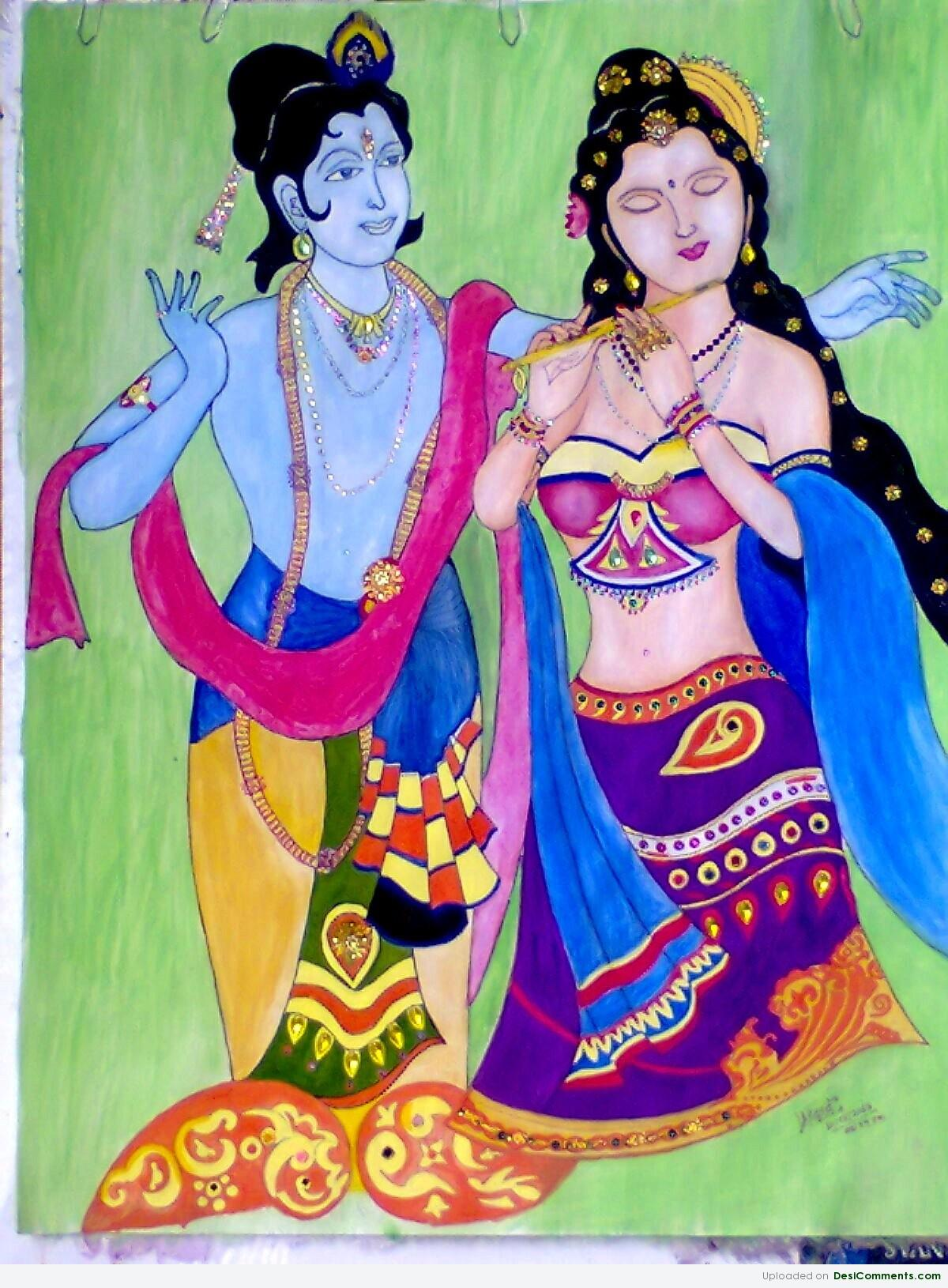 Paintings pictures images graphics for facebook for Mural radha krishna