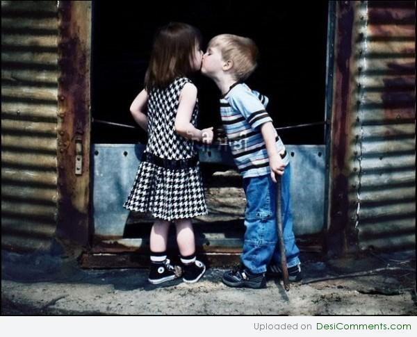 Kid couple kissing
