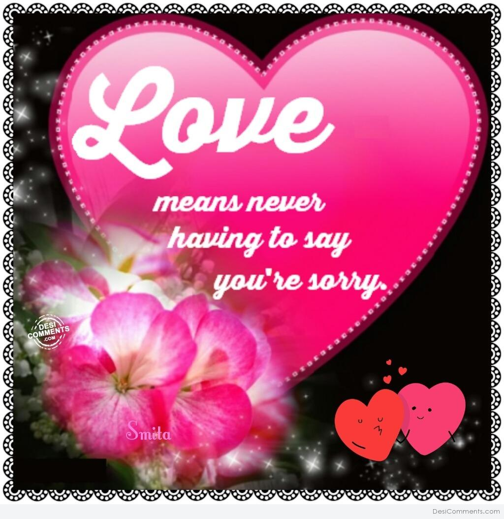 Love Means Never Having To Say Youre Sorry Desicomments