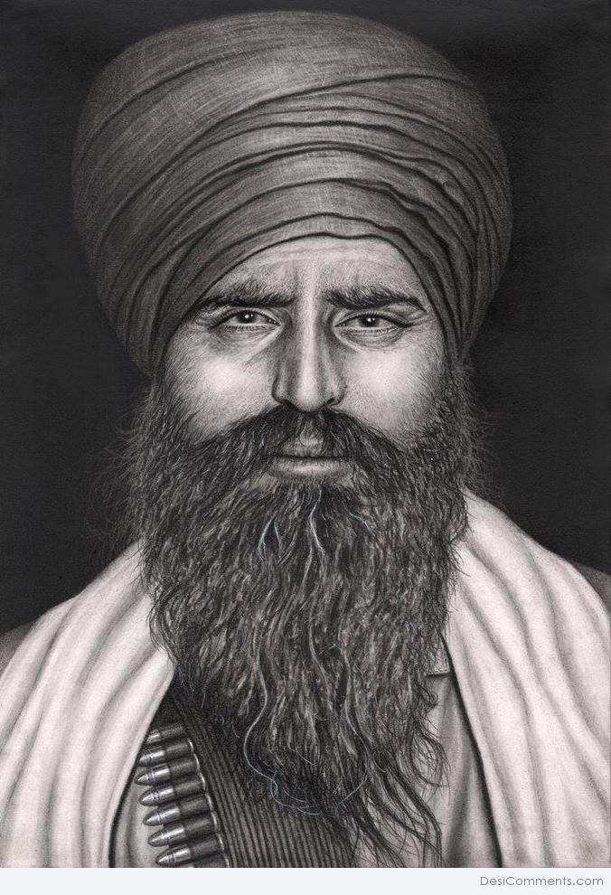 Pencil Drawing Of Sant Jarnail Singh Ji Bhindranwale