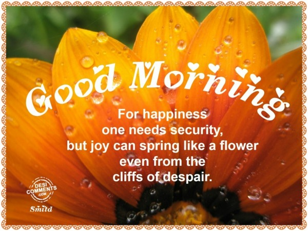 Good Morning – For happiness one needs security
