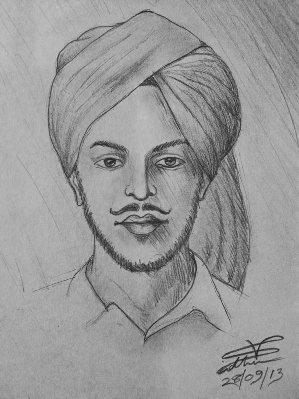 Pencil Sketch Of Bhagat Singh