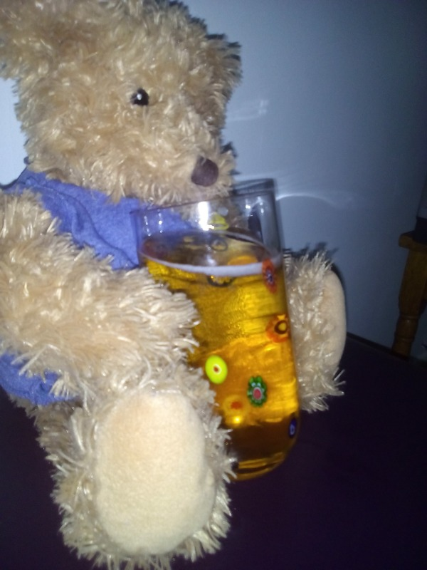 Drinking teddy bear