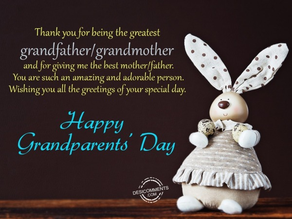 Picture: Thank you for being the greatest grandfather – Happy Grandparents Day