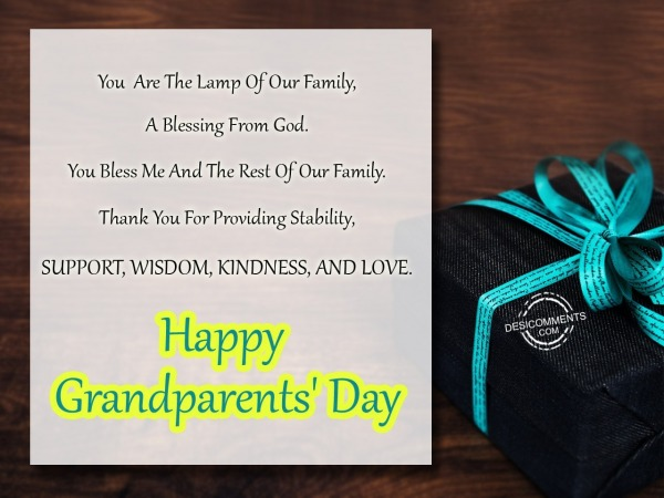 Picture: You  Are The Lamp Of Our Family – Happy Grandparents Day