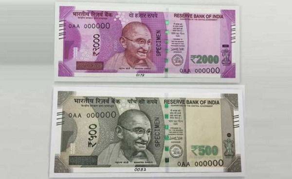 Front View Of New 500 And 2000 Rupees