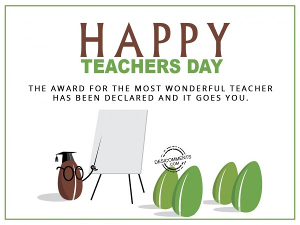 Picture: the award for the most wonderful teacher, Happy Teachers Day