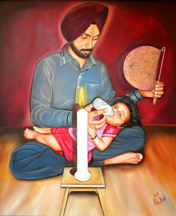 Beautiful Painting Of Father And Daughter