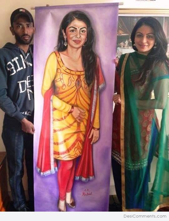 Painting of Actress Neeru Bajwa