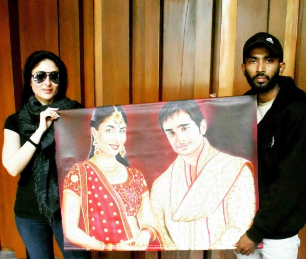 Painting of Actress Kareena Kapoor And Saif Ali Khan