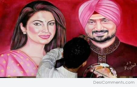 Painting of Harbhajan Singh And Geeta Basra