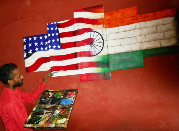Painting of fusion USA And INDIA Flag