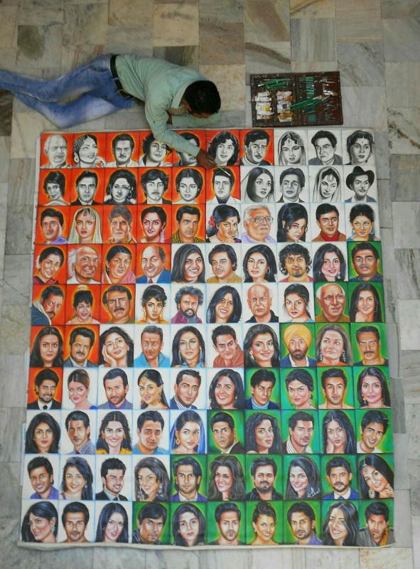 Picture: Painting of 100 Portraits of bollywood stars