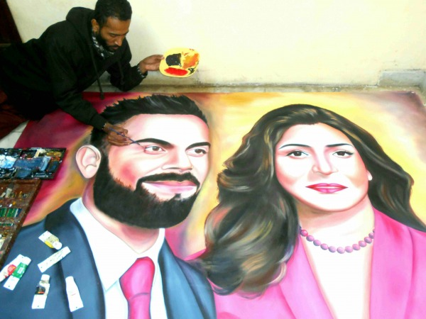 Painting Of Virat Kohli And Anushka Sharma