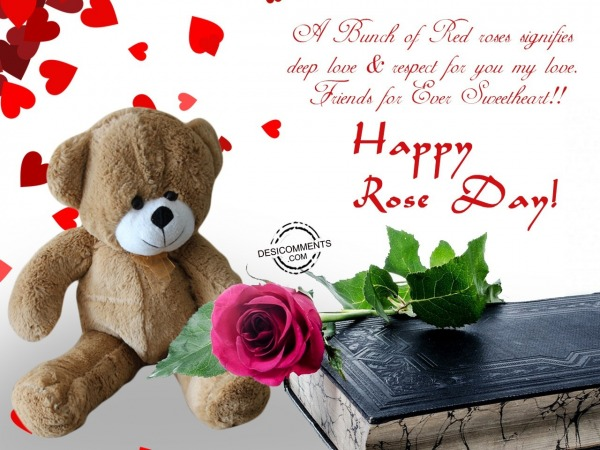 Picture: A bunch of red roses sgnifies, Happy Rose Day