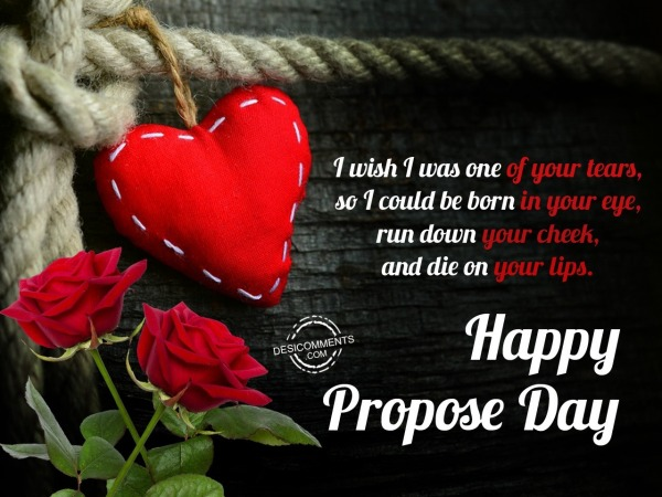 I wish I was one of your tears, Happy Propose Day