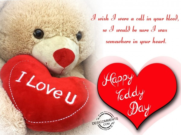 Picture: I wish i were a cell in your blood, Happy Teddy day