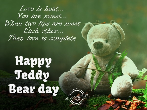 Picture: Love is heat you are sweet, Happy teddy day