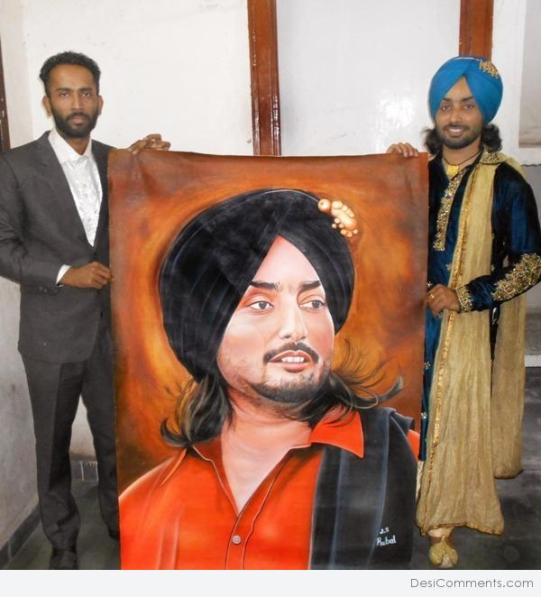 Painting of Punjabi Singer Satinder Sartaaj
